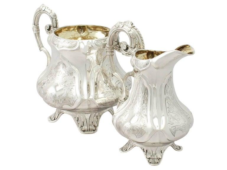 Mid-19th Century Antique Victorian Sterling Silver Three-Piece Tea Service