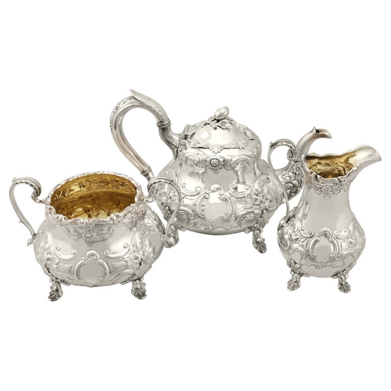 Antique Victorian Sterling Silver Three-Piece Tea Service For Sale