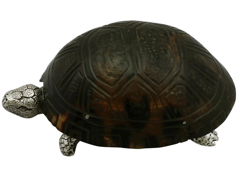 An exceptional, fine and impressive, rare antique Victorian English sterling silver vesta box modelled in the form of a tortoise; an addition to our ornamental silverware collection.