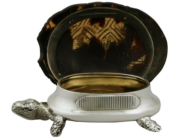 Late 19th Century 1882 Antique Victorian Sterling Silver 'Tortoise' Vest Box For Sale