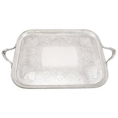 Antique Victorian Sterling Silver Tray by Thomas Bradbury & Sons, 1895
