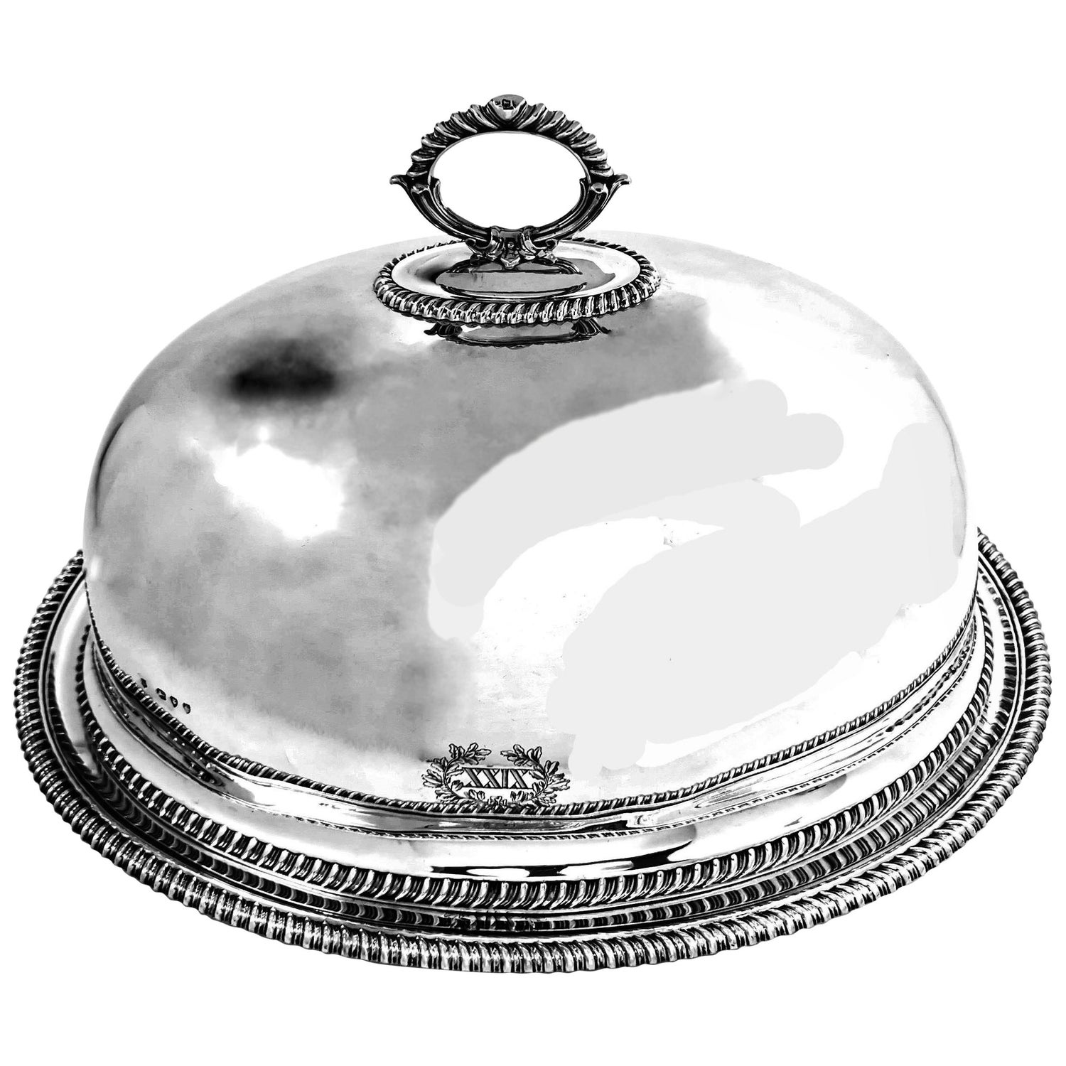 Antique Victorian Sterling Silver Turkey Dome and Meat Platter, 1859-1894