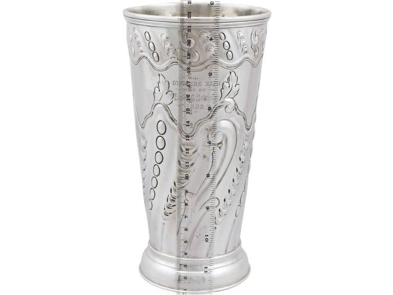 Antique Victorian Sterling Silver Vase by Frederick Elkington & Co, 1887 For Sale 5