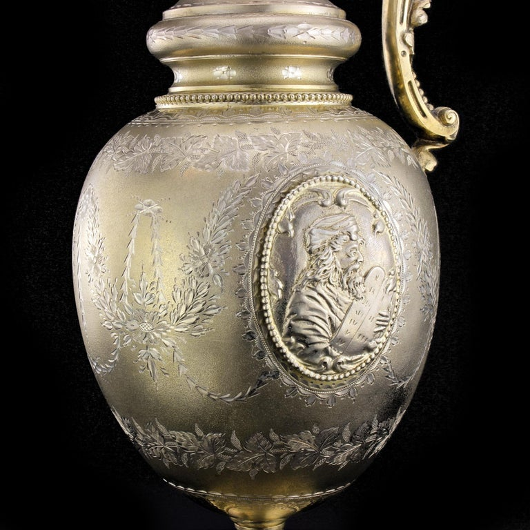 Antique Victorian Sterling Silver Wine Ewer with King David of Jerusalem For Sale 1