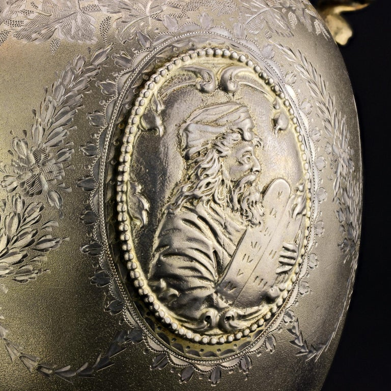 Antique Victorian Sterling Silver Wine Ewer with King David of Jerusalem For Sale 2