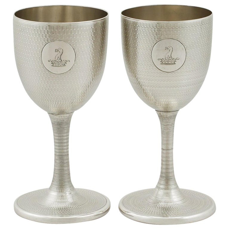 Antique Victorian Sterling Silver Wine Goblets For Sale