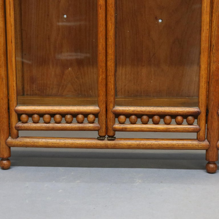 Antique Victorian Stick & Ball Oak Hanging Demilune Wall Display Cabinet, c1900 For Sale 3