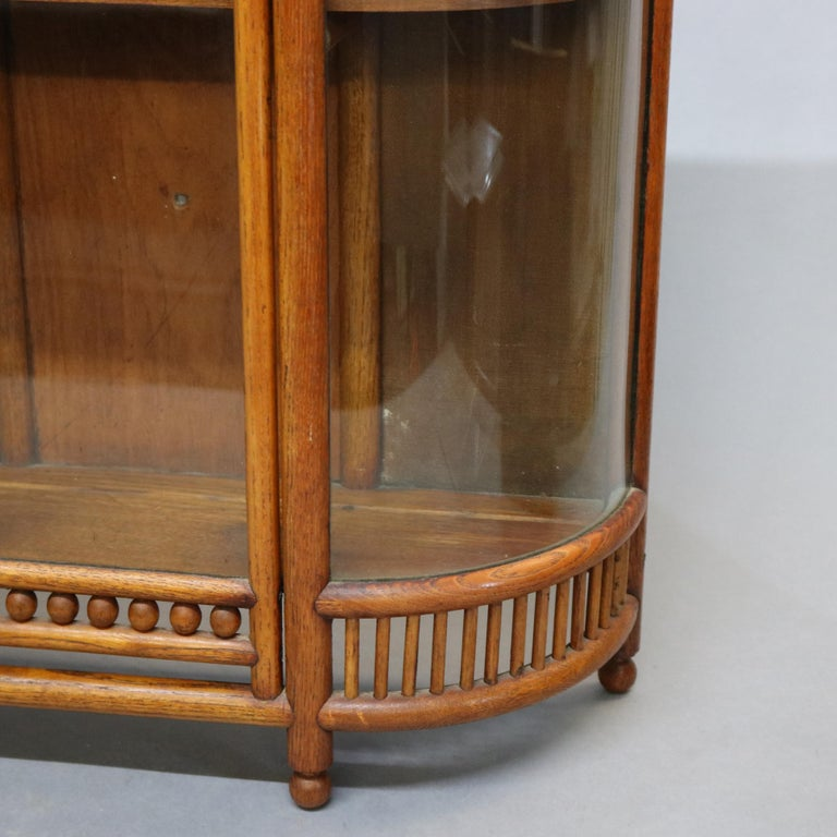 Antique Victorian Stick & Ball Oak Hanging Demilune Wall Display Cabinet, c1900 For Sale 4
