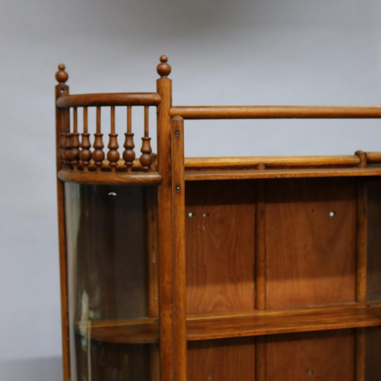 Antique Victorian Stick & Ball Oak Hanging Demilune Wall Display Cabinet, c1900 For Sale 6