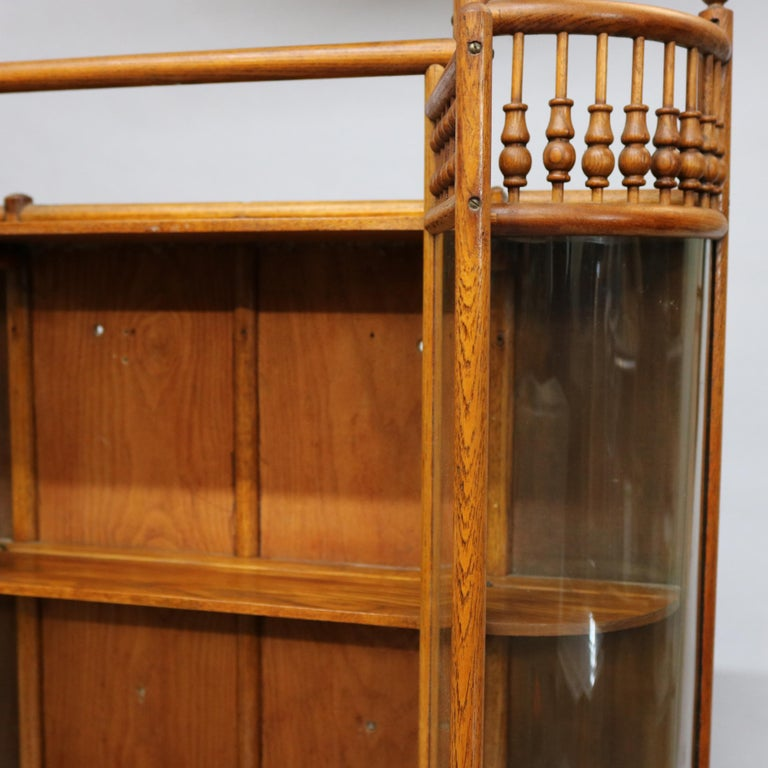Antique Victorian Stick & Ball Oak Hanging Demilune Wall Display Cabinet, c1900 For Sale 7