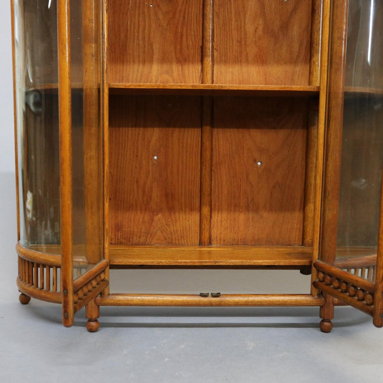 Antique Victorian Stick & Ball Oak Hanging Demilune Wall Display Cabinet, c1900 For Sale 8