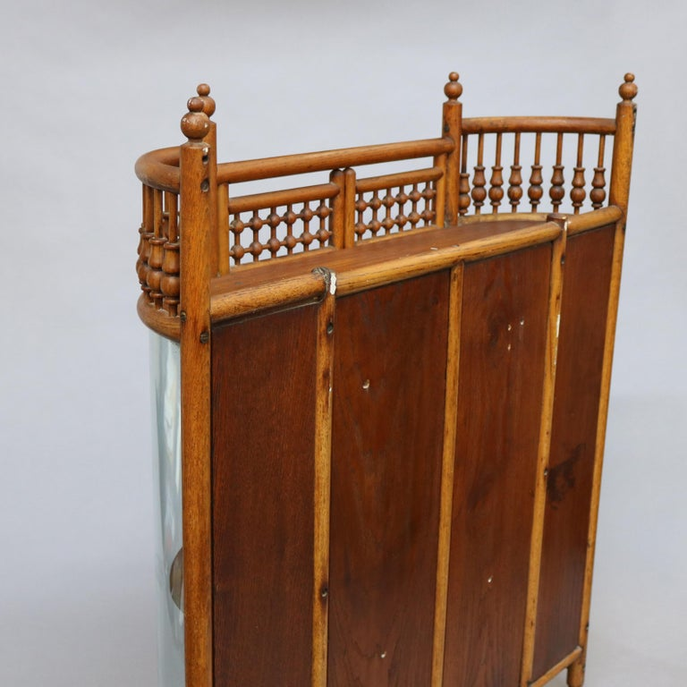 Antique Victorian Stick & Ball Oak Hanging Demilune Wall Display Cabinet, c1900 For Sale 9