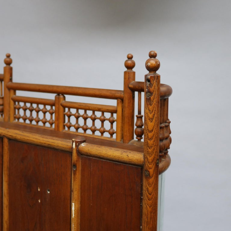 Antique Victorian Stick & Ball Oak Hanging Demilune Wall Display Cabinet, c1900 For Sale 10