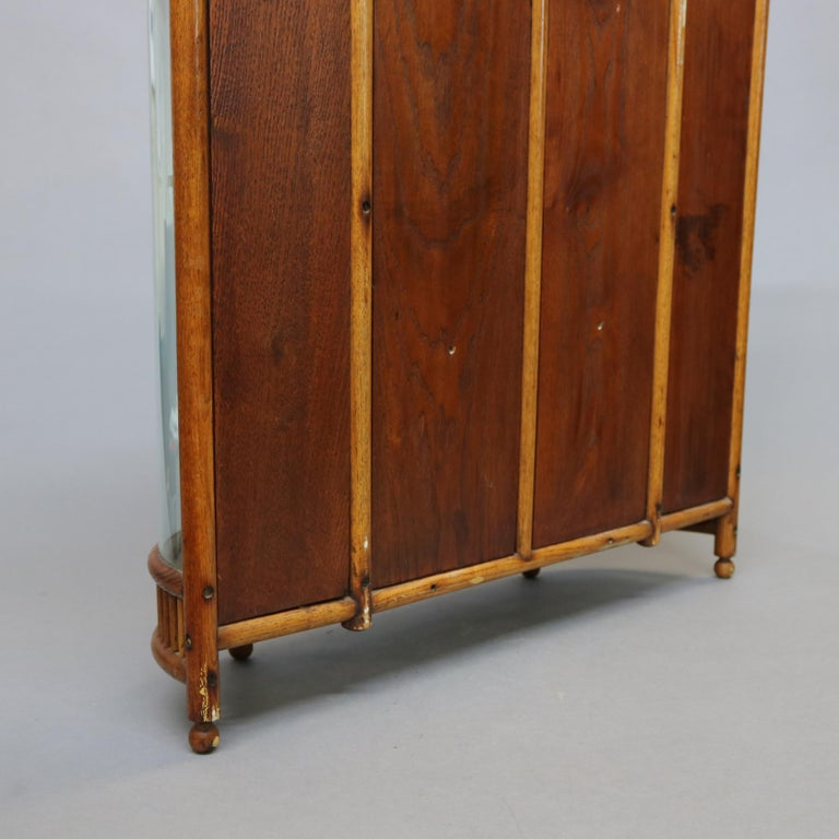 Antique Victorian Stick & Ball Oak Hanging Demilune Wall Display Cabinet, c1900 For Sale 11