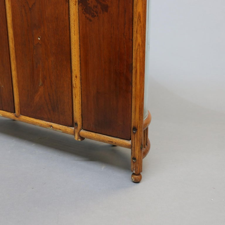 Antique Victorian Stick & Ball Oak Hanging Demilune Wall Display Cabinet, c1900 For Sale 12