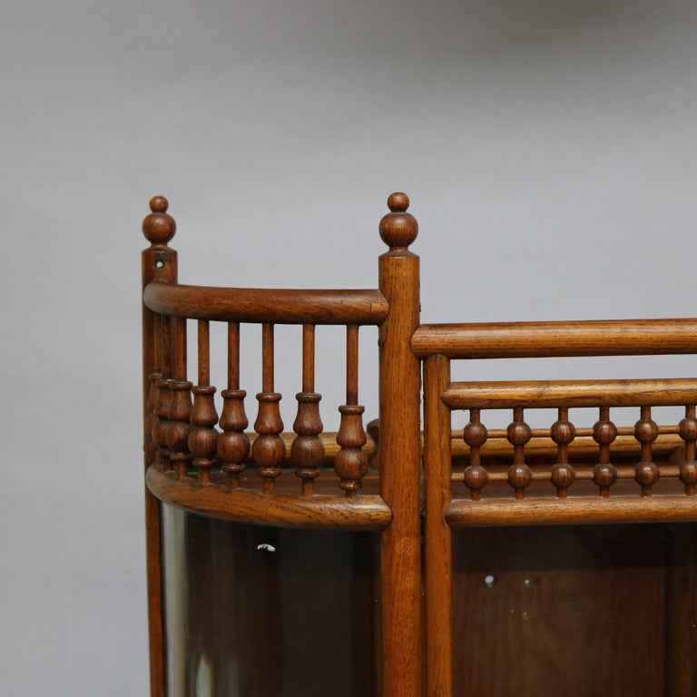 European Antique Victorian Stick & Ball Oak Hanging Demilune Wall Display Cabinet, c1900 For Sale
