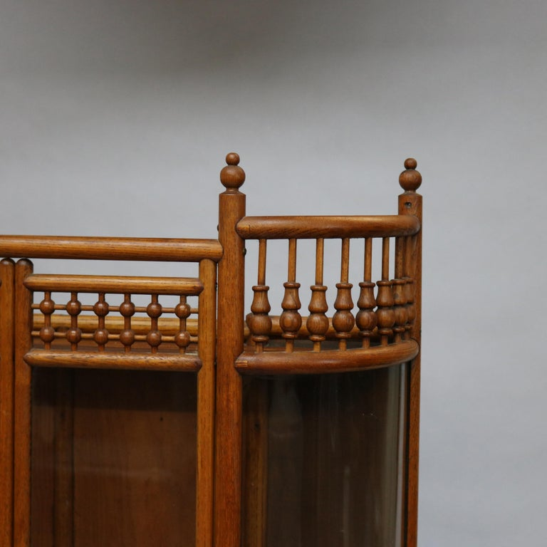 Carved Antique Victorian Stick & Ball Oak Hanging Demilune Wall Display Cabinet, c1900 For Sale