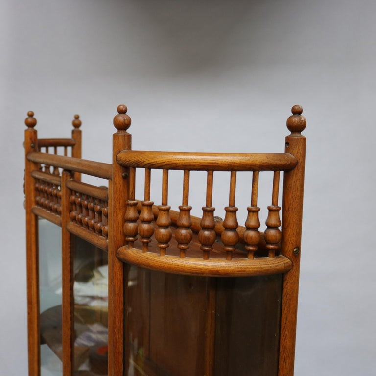 Glass Antique Victorian Stick & Ball Oak Hanging Demilune Wall Display Cabinet, c1900 For Sale