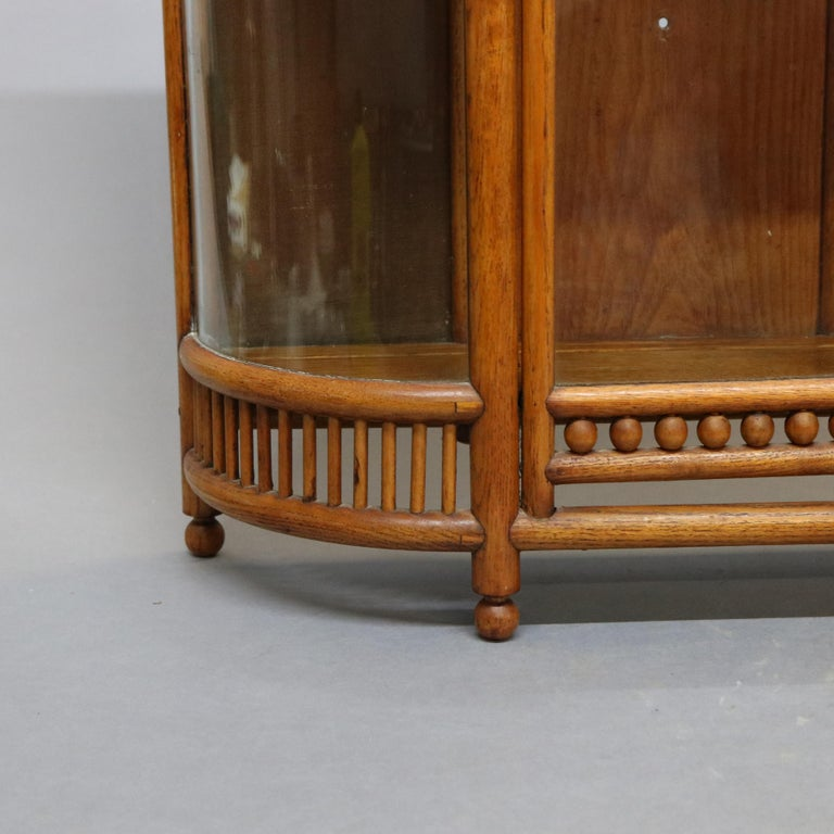 Antique Victorian Stick & Ball Oak Hanging Demilune Wall Display Cabinet, c1900 For Sale 2