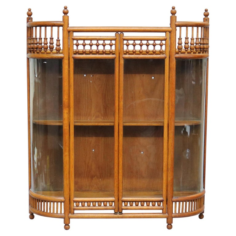 Antique Victorian Stick & Ball Oak Hanging Demilune Wall Display Cabinet, c1900 For Sale