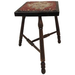 Antique Victorian Stool with Tapestry Style Seat