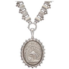 Antique Victorian Stork Locket Collar Sterling Silver Necklace, circa 1900