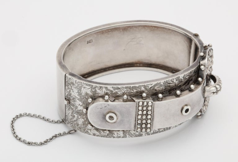 Late Victorian Antique Victorian Studded Silver Cuff Buckle Bracelet For Sale