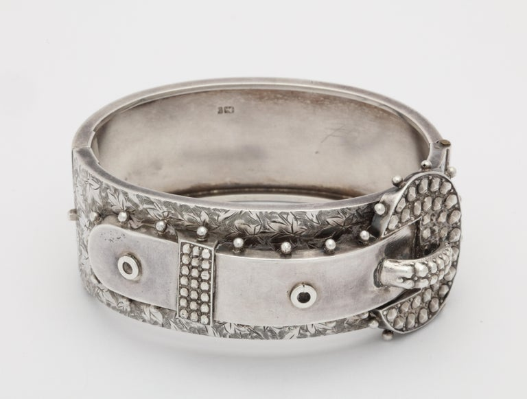 Antique Victorian Studded Silver Cuff Buckle Bracelet In Excellent Condition For Sale In Stamford, CT