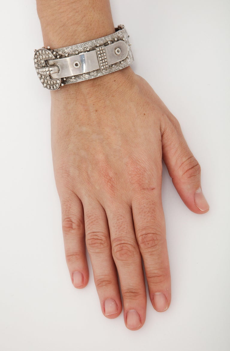 Antique Victorian Studded Silver Cuff Buckle Bracelet For Sale 2
