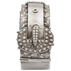 Antique Victorian Studded Silver Cuff Buckle Bracelet