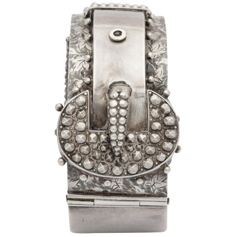 Antique Victorian Studded Silver Cuff Buckle Bracelet For Sale