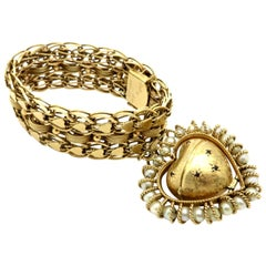 Antique Victorian Style 14 Karat Yellow Gold Mourning Heart Locket Bracelet