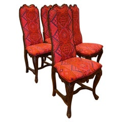 Antique Victorian Style Chairs in Batik Upholstery 'Set of 4'