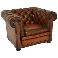 Antique Victorian Style Leather Chesterfield Armchair