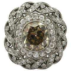 Antique Victorian Style Platinum Old Mine Cut Fancy Light Brown Diamond Ring