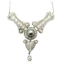 Antique Victorian Style Tahitian Pearl and Diamond Platinum Necklace