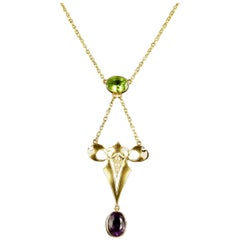 Antique Victorian Suffragette Necklace 15 Carat Gold 2.50 Carat Amethyst