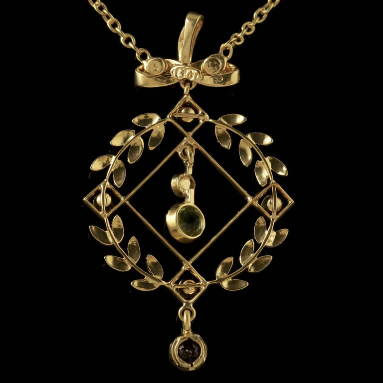 Women's Antique Victorian Suffragette Necklace 15 Carat Gold Pendant, circa 1900 For Sale