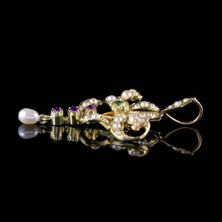 Antique Victorian Suffragette Pendant 15 Carat Gold Pearl, circa 1900 For Sale 1