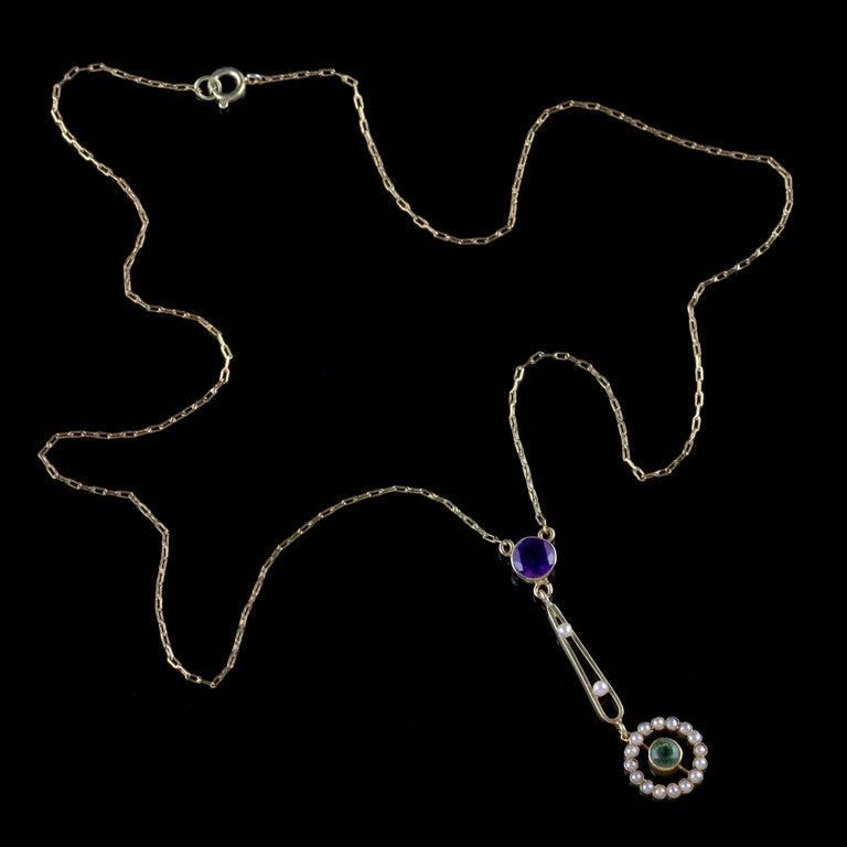 Antique Victorian Suffragette Pendant Necklace 15 Carat Gold, circa 1900 For Sale 1