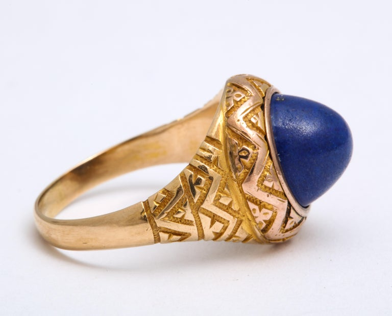 Sugarloaf Cabochon Antique Victorian Sugarloaf Lapis Lazuli Ring For Sale
