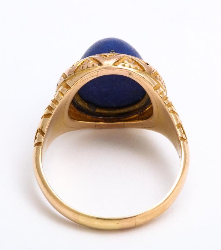 Antique Victorian Sugarloaf Lapis Lazuli Ring For Sale 1