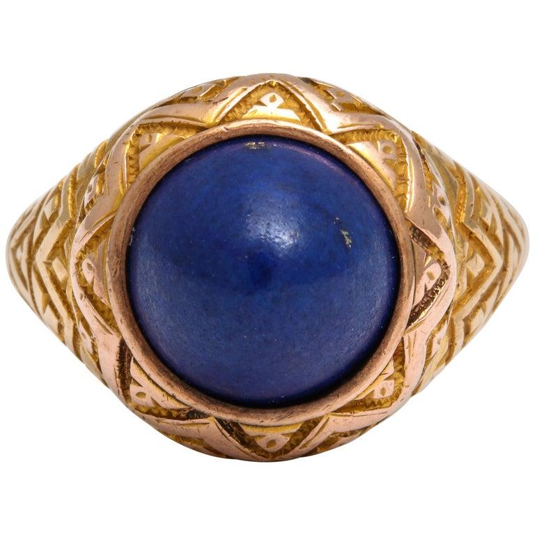 Antique Victorian Sugarloaf Lapis Lazuli Ring For Sale