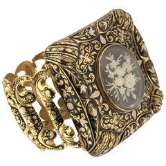 Antique Victorian Swiss Enamel Gold Bracelet