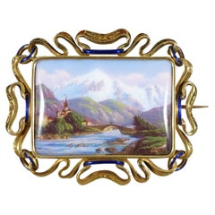 Antique Victorian Swiss Scene in 15ct Yellow Gold and Enamel Detailing