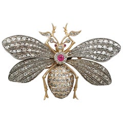 Antique Victorian Synthetic Ruby and 3.11 Carat Diamond Gold Insect Brooch