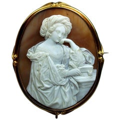 Antique Victorian the Persian Sibyl Shell Cameo Brooch