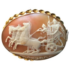Antique Victorian The Triumph of Alexander the Great Shell Cameo Brooch