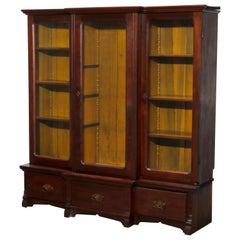 Antique Victorian Three-Door Mahogany Step Back Bookcase, Circa 1900