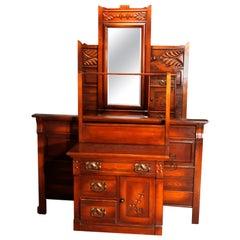 Antique Victorian Three-Piece Eastlake Chip Carved Oak Bedroom Suite, circa 1890